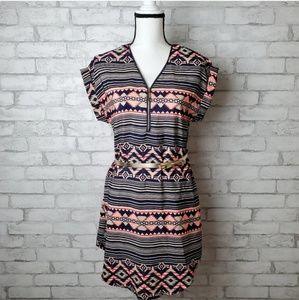 Rue 21 Aztec Print Dolman Sleeve Dress With Belt